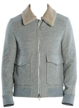 Eleventy Men's Wool& Cashmere Shearling Collar Bomber Jacket - Pearl - Size 56 (40)