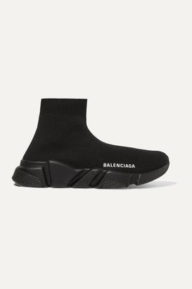 Balenciaga Speed Logo-print Stretch-knit High-top Sneakers - Black