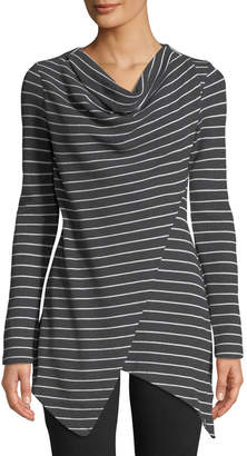 Marc Ny Performance Striped Thermal Asymmetric Cowl-Neck Tunic Top