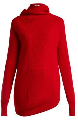 Jil Sander Asymmetric Wool And Cashmere Blend Sweater - Womens - Red