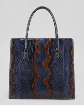 Nancy Gonzalez Crocodile, Python & Calf Hair Shoulder Bag, Navy