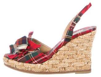 Castaner Tartan Wedge Sandals