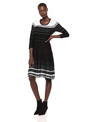 Nine West Women's 3/4 Sleeve Verigated Stripe Sweater Dress