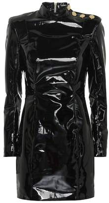 Faux patent leather minidress