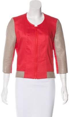 Helmut Lang Linen Leather-Paneled Jacket