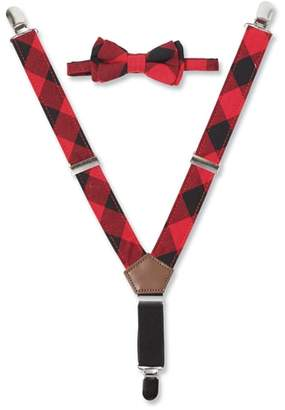 Mud Pie Buffalo Check Suspender & Bow Tie Set