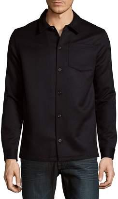 Ami Men's Long Sleeve Twill Wool Overshirt