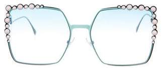 Fendi Studded Embellished Dramatic Cat-Eye Sunglasses