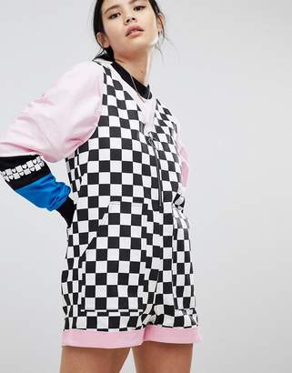 Lazy Oaf Playsuit In Checkerboard