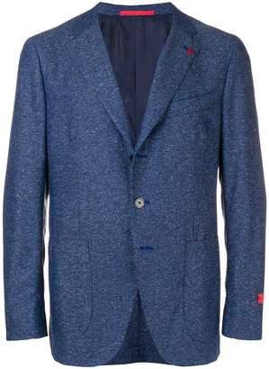 Isaia melange buttoned blazer