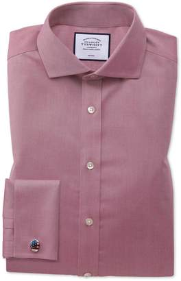 Charles Tyrwhitt Slim Fit Non-Iron Spread Collar Red Twill Cotton Dress Shirt Single Cuff Size 14.5/32