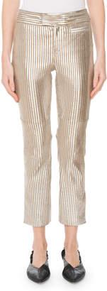 Isabel Marant Straight-Leg Striped Metallic Leather Cropped Pants