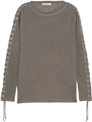 IRO - Salim Lace-up Linen-jersey Top - Gray $320 thestylecure.com