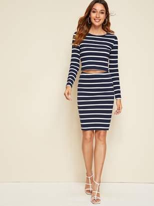 Shein Striped Crop Top & Pencil Skirt Set