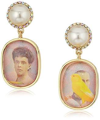 Betsey Johnson Womens Granny Chic Antique Picture and Pearl Drop Earrings
