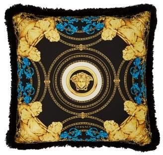 Versace Ganimede Medusa Silk Cushion - Black Blue