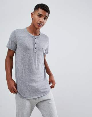 Hollister solid henley t-shirt seagull logo slim fit in gray marl