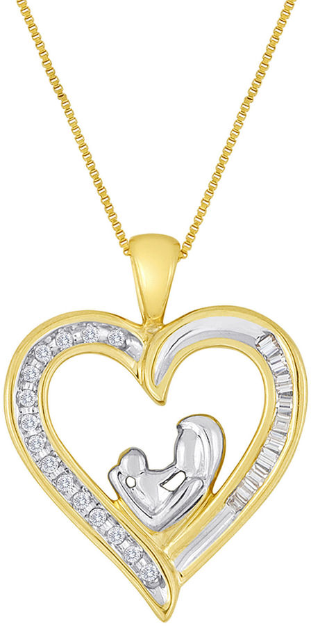 Jcpenney fine jewelry mom baby 1 10 ct t w diamond 10k for Fine jewelry diamond pendants