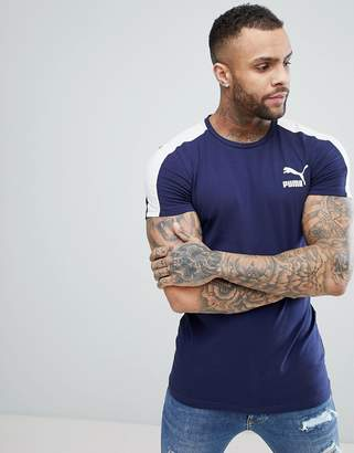 2f180f3a030 Puma Archive T7 Muscle Fit T-Shirt In Navy 57501506