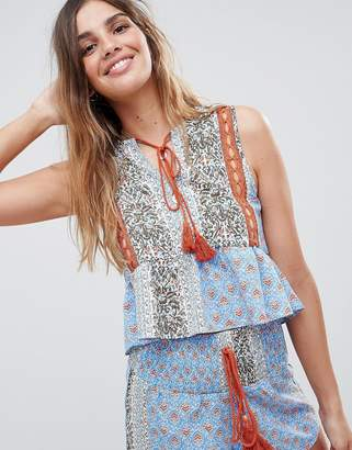 Glamorous Folk Top With Peplum Hem And Tassle Ties In Patchwork Print Two-Piece