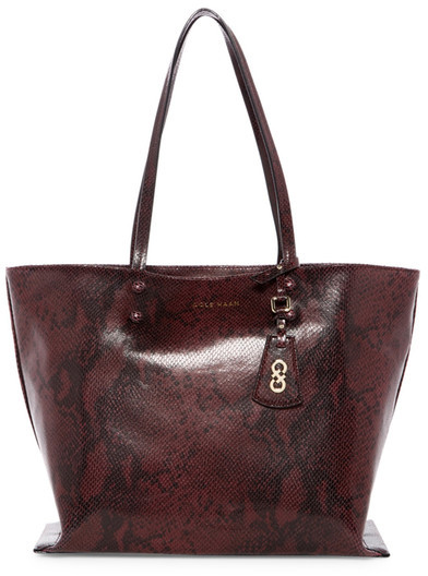 Cole Haan  Cole Haan Hannah Snake-Embossed Leather Tote