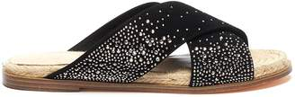 Chloé Pedder Red 'Chloe' strass embellished cross strap suede espadrille slide sandals
