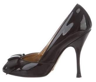 Dolce & Gabbana Patent Leather Peep-Toe Pumps
