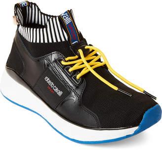 Roberto Cavalli Sport Black Knit Low-Top Sneakers
