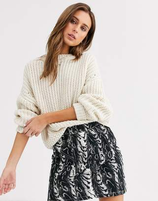 Topshop chunky knit jumper with crew neck in ivory