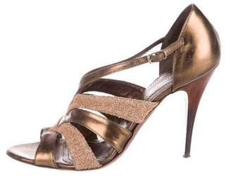 Jean-Michel Cazabat Metallic Leather Sandals