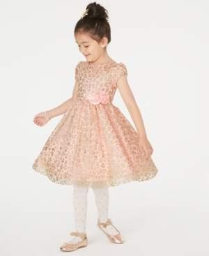 Rare Editions Little Girls Glitter Animal-Print Dress