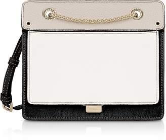 Furla Like Mini Color Block Leather Crossbody Bag w/Chain Strap