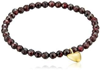 Satya Jewelry Garnet Heart Stretch Bracelet