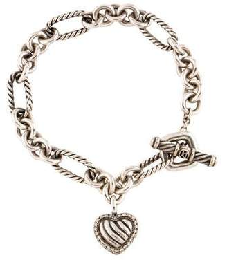 David Yurman Diamond Cable Heart Charm Bracelet