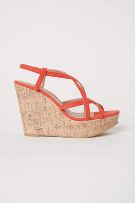 H&M Wedge-heel Sandals - Orange - Women