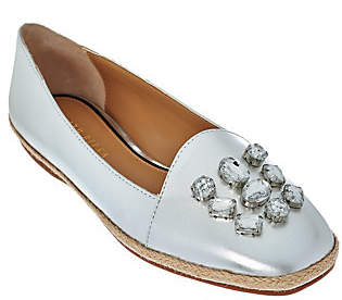 Judith Ripka Leather Espadrilles with JewelDetail - Olivia