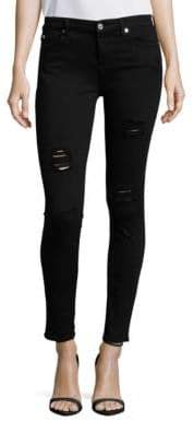 7 For All Mankind Destructed Ankle Slim Illusion Skinny Jeans