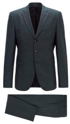 BOSS Hugo Extra-slim-fit virgin-wool-blend suit mohair 38R Dark Green