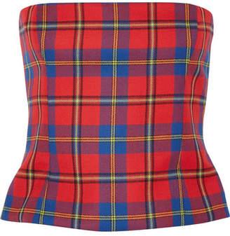 Versace Tartan Wool Bustier Top - Red