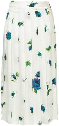 MSGM floral pleated midi skirt
