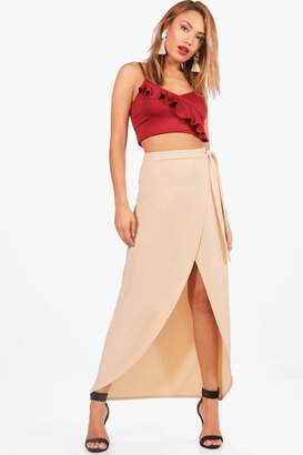 boohoo Tie Waist Wrap Front Dipped Midi Skirt