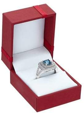Lord & Taylor London Blue Topaz, White Topaz and Sterling Silver Frame Ring