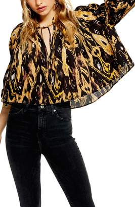 Topshop Ikat Cropped Blouse
