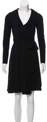 Milly Ruffle-Accented Wrap Dress
