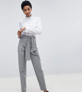 Asos DESIGN Tall tailored tapered check PANTS with obi self tie and exposed zip