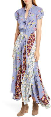 Polo Ralph Lauren Patchwork Floral Asymmetrical Silk Dress