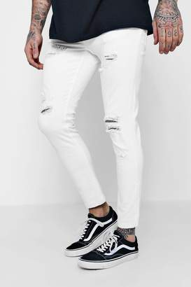 boohoo Skinny Fit White Denim Jeans with Distressing