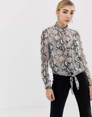 Miss Selfridge shirt with tie front in snake print
