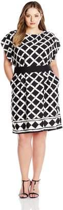 Eliza J Women's Plus Size Printed Dress with Obi Belt