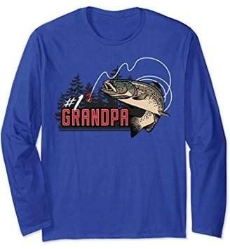 Number One Grandpa Jumping Trout Outdoors Long Sleeve Tee